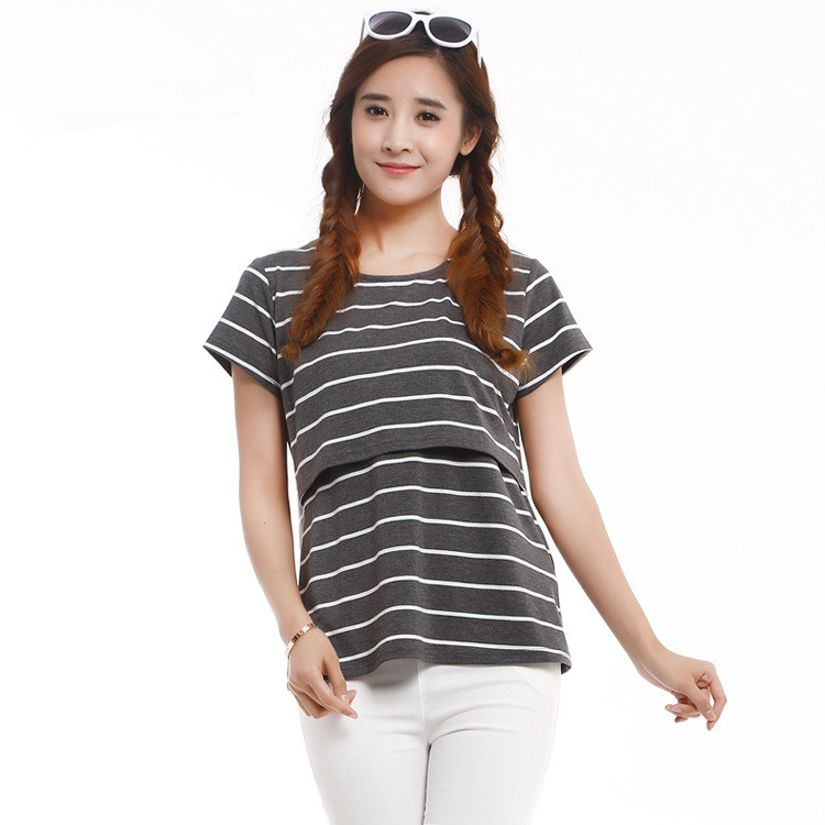 Summer Short Sleeve Striped Tee Pregnant T shirt Breastfeeding Ourdoor baby nursing T shirt Layer opening