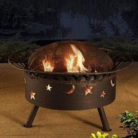 "Large Round Wood Burning Steel Firepit 32"" Moon and Star"