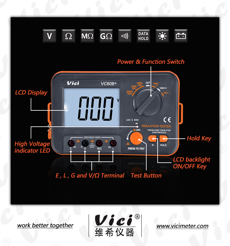 VC60B+ Electrical Digital Instrument Isolation Megger Tester