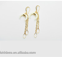 crescent moon shaped low price high quality diamond inlaid gold long earring