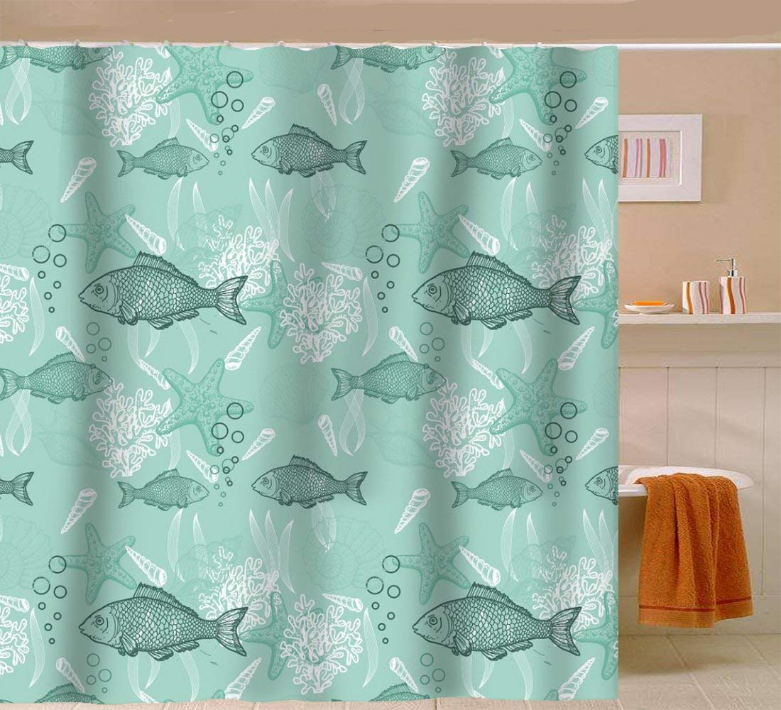 Sunlit Elegant Ocean Theme Art Print Fabric Shower Curtain Fish C Starfish Seashell With Waves Bubble
