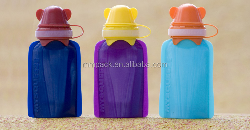 silicone reusable food pouch/silicone baby spout pouch with spoon/BPA free baby food pouch