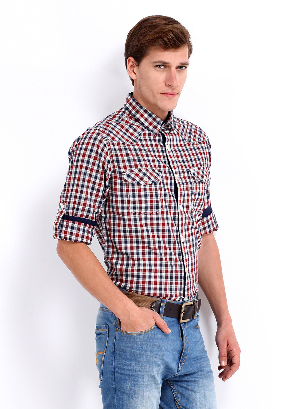 Men white maroon checked western slim fit casual cheap for Where to buy cheap plaid shirts