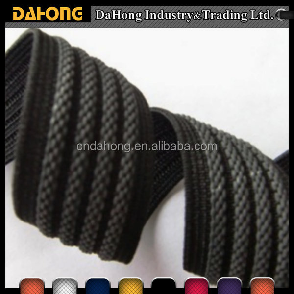25mm flat black colour strong elastic band non-slip webbing
