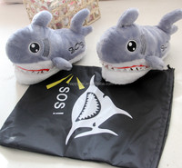 HI shark plush indoor slippers winter house shoes unisex warm soft slippers
