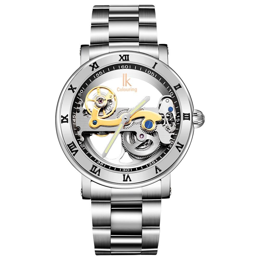 8bc426991984 2018 Venta caliente IK colorantes reloj transparente Roma número oro blanco  nuevo diseño mecánico automático relojes