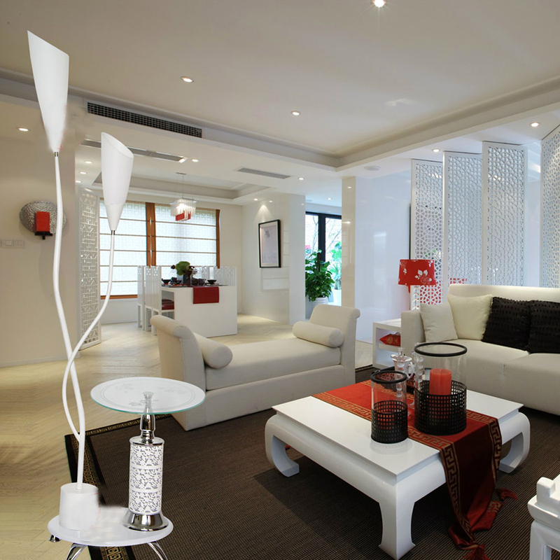 Living Room Lamp Shades: Modern Brief Fashion Design Frosted Glass Shade Floor Lamp