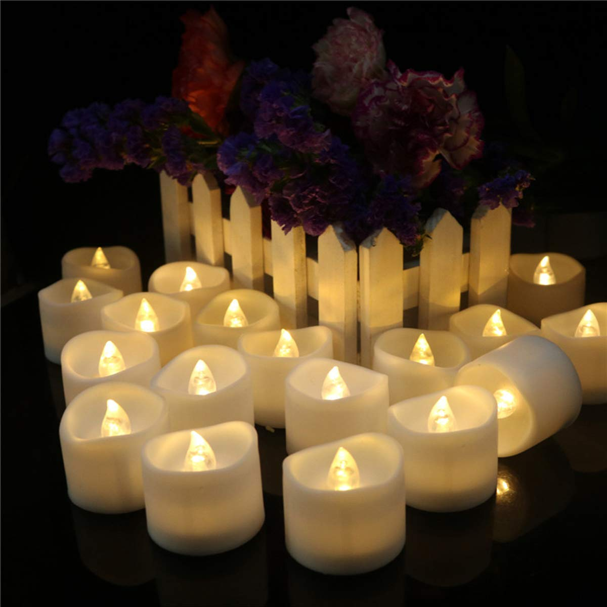 Dellukee Flameless Candles Flicker with Timer Wave Open Realistic Bright Battery Operated LED Tealights Candles for Wedding Birthday Party Decoration, Pack of 24, Electric Fake Candle in Warm White