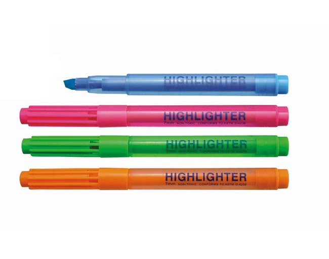 cheap fluorescent ink stationery plastic highlighter marker