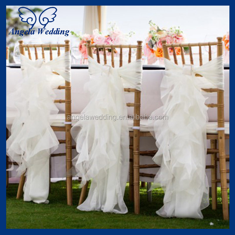 ch007n cheap hot 2017 wholesale fancy popular frilly curly willow white ruffled chair covers for wedding