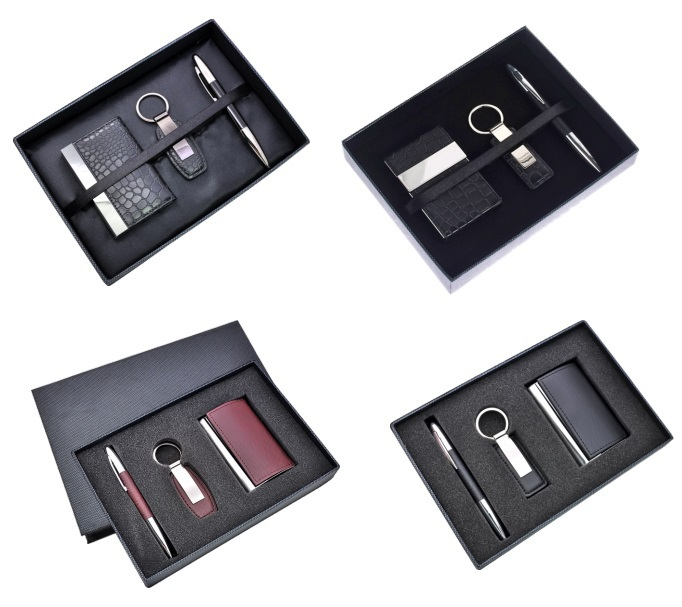 199b3ce98e06 New Design Corporate Card bag Pen Key chain PU Gift Sets for ladies men