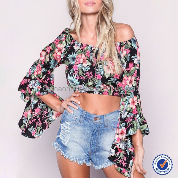 13a666fd34f tropical floral print crop top ladies long sleeve off shoulder top blouse  for women summer wear