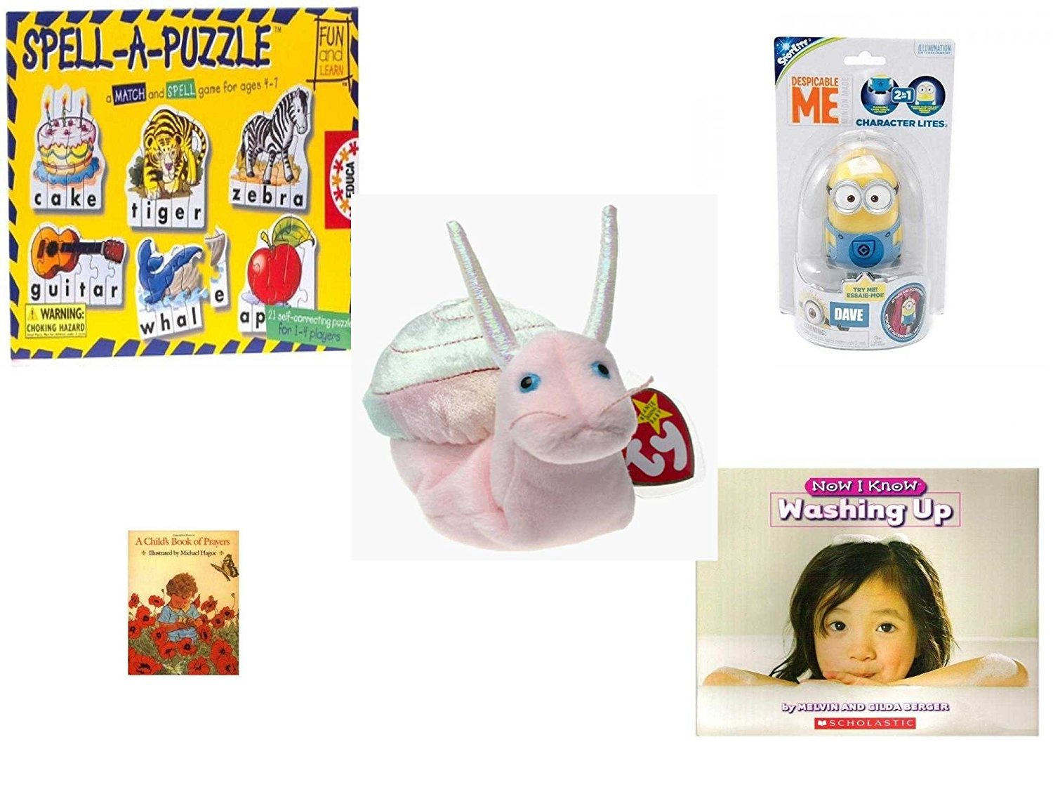 Children's Gift Bundle - Ages 3-5 [5 Piece] - Spell A Puzzle Game - Tech4Kids Despicable Me Character Lite Dave Toy - Ty Beanie Baby - Swirly the Snail - A Child's Book of Prayers Hardcover Book - N