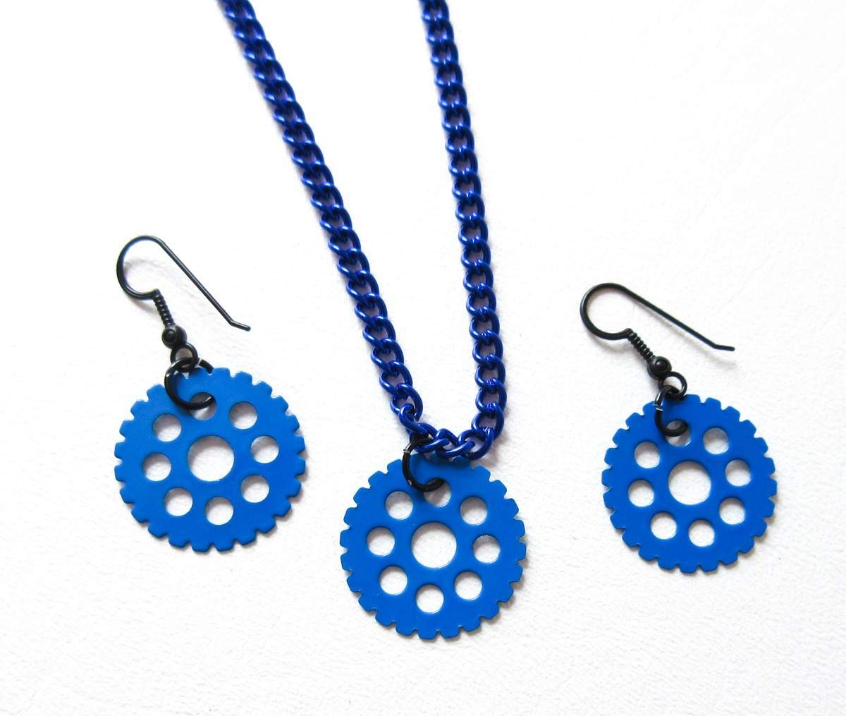 Blue Gear Necklace and Earring Set
