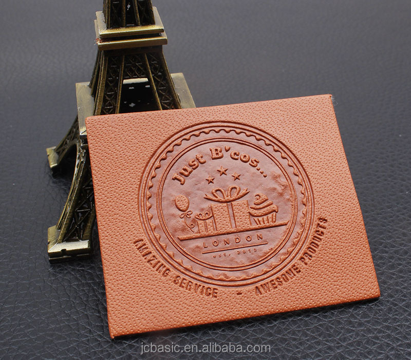 Custom faux pu embossed leather patch for jeans leather label