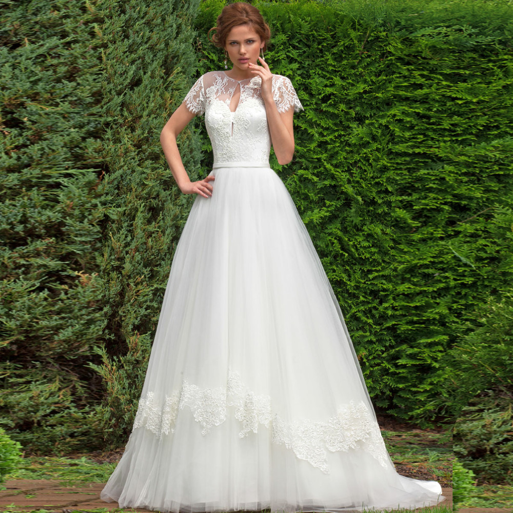 Short Sleeved Wedding Gowns: Louisvuigon Short Sleeves A Line Wedding Dress With Short