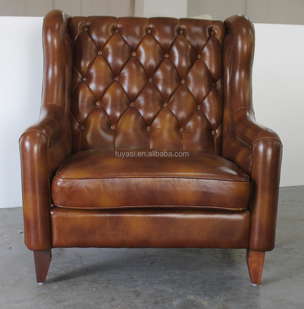 Living Room Leather Chair Full Grain On French Provincial Furniture Antique
