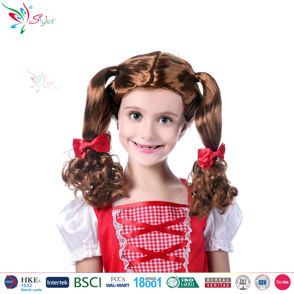Styler Brand 2016 party kids long hair wig halloween children brown wig