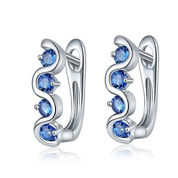 2018 New Design 18K Rhodium Plated Single Row Blue Zircon Stone Clip Bridal Earrings