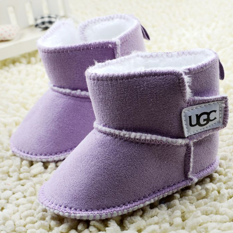 Warm Winter Baby Ankle Snow Boots Infant Shoes White Purple Antiskid Keep Warm Baby Shoes