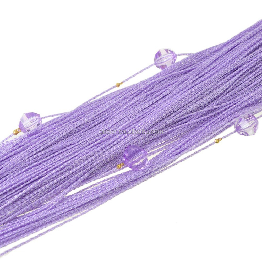 Christmas Wholesale 1m x 2m Purple Window Door Room Panel Crystal Beaded Tassels Strings Curtains