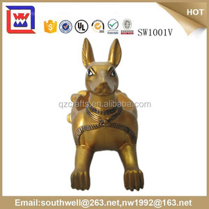 custom famous Antique Gold Stereo egyptian animal bust statues