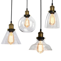 Loft Lighting Industrial Clear Glass Lamp Shades Vintage Pendant Light