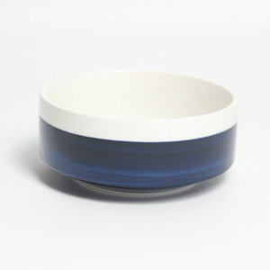 Customize logo outside printed blue cheap reusable unique ceramic salad bowl