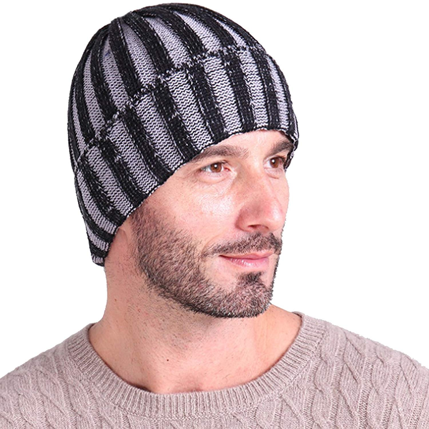 2fdcf86b23af7 Get Quotations · KUYOU Mens Winter Striped Watermelon Knitted Hat Knitting  Skull Cap