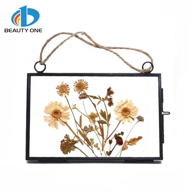 New Product Dried Flower Square Mini Glass Photo Frame