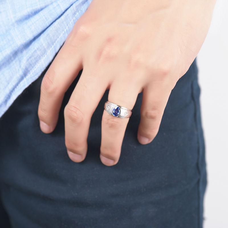 Blue Sapphire Mens Ring Men Style Sapphire Diamond Ring