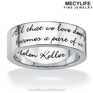 MECYLIFE Stainless Steel Inspirational Helen Keller Quote Message Ring