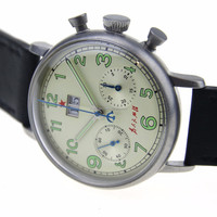 Vintage Mechanical Chronograph Seagull Men's Wrist watch Pilot watch Official Reissue 1963 Big Date Serve people
