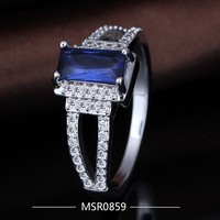 Low Price High Quality Big Blue Zircon Stone Engagement Ring