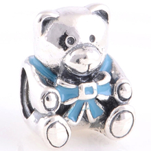 Big hole silver wristband charm city charms Girl Teddy Bear