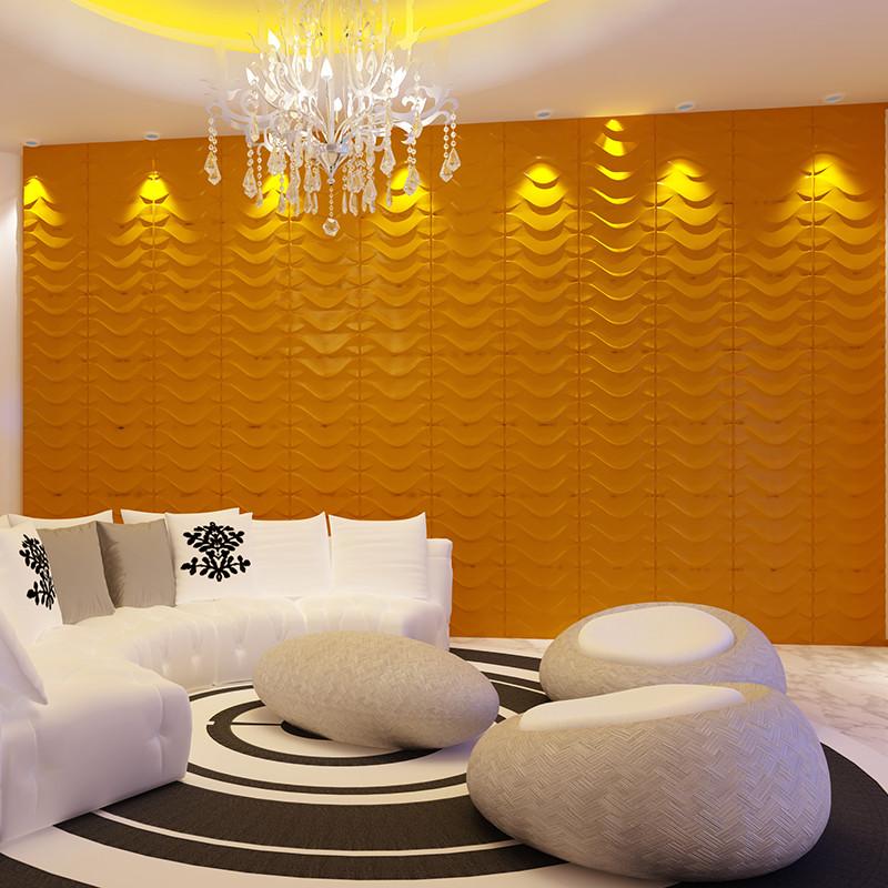 Home Decor 3d Wave Design Paintable Textured Decorative Pvc Tile