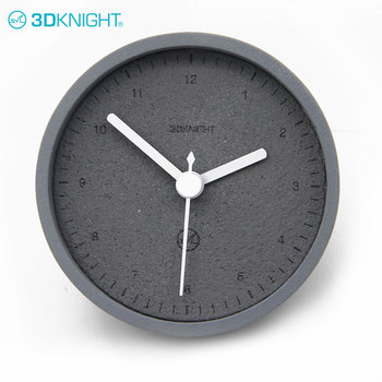 Retro Stylish Battery Black Desk Concrete Clock For Cafe Decorative