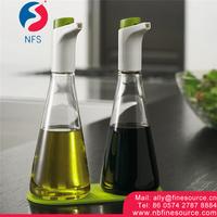 2 Pcs Controlled Flow Glass Olive Oil Vinegar Glass Cruet