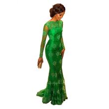 Vestidos de noche largos verde jade