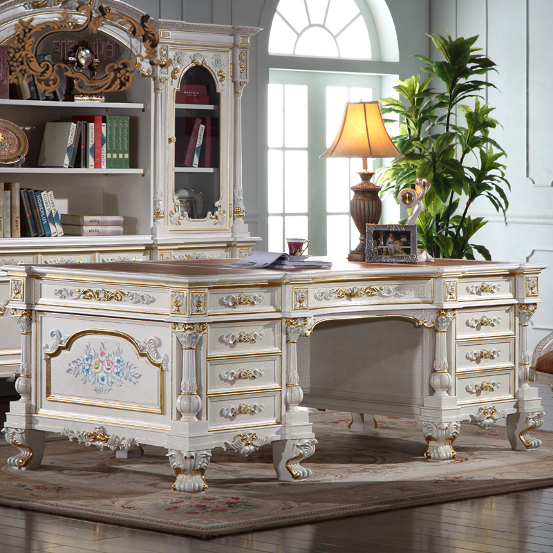 Luxury Office Furniture Baroque Hand Carving Royalty Study
