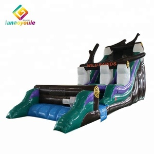 China long Wild Rapids inflatable water slide for adult, high quality Plato 0.55mm PVC inflatable slide