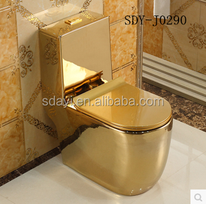 luxury golden ceramic color toilet wc gold plated toilet bowl
