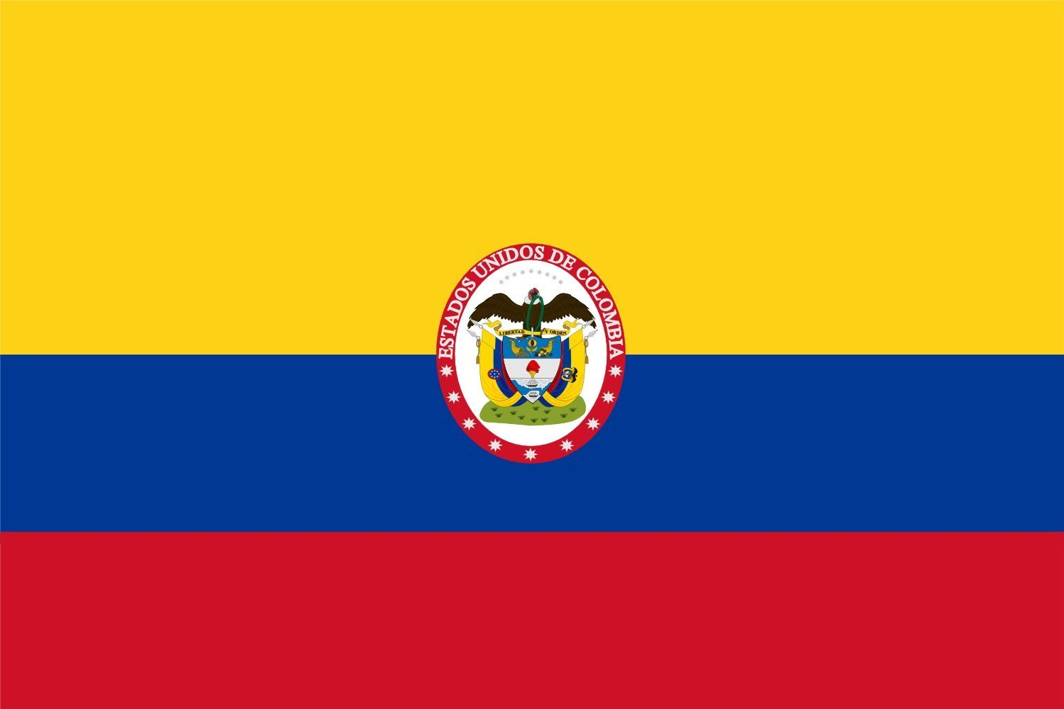 magFlags Large Flag Military flag of United States of Colombia   Military flag and naval ensign of United States of Colombia   Naval de guerra de los Estados Unidos de Colombia 90x150cm   3x5ft -- 10