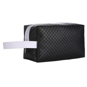 Black PU Leather Cosmetic Makeup Bag with Handle