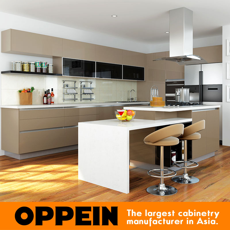 Oppein White And Brown High Gloss Lacquer New Model Kitchen Cabinet