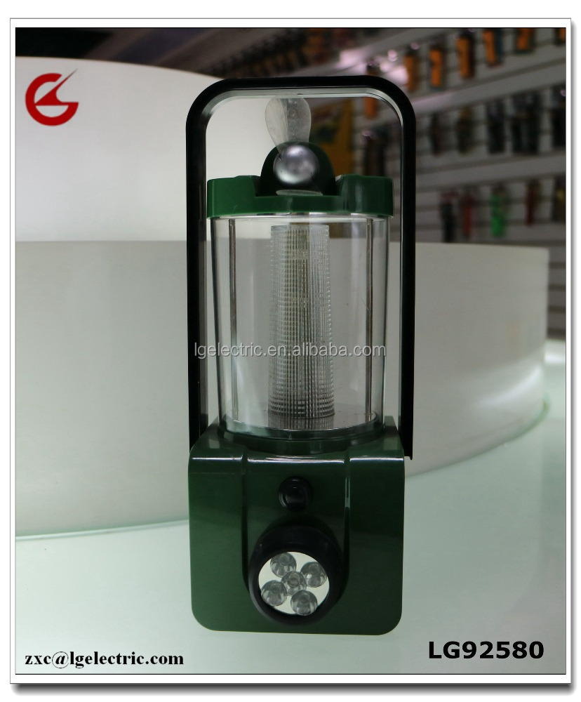 ABS Material LED Camping Lantern with Radio and Mini Fan