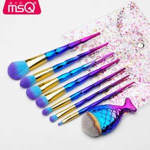 MSQ Rhombic Spiral Handle Double Color Synthetic Hair Brush 8pcs Shiny Custom Laser Logo Cosmetics Brush Set