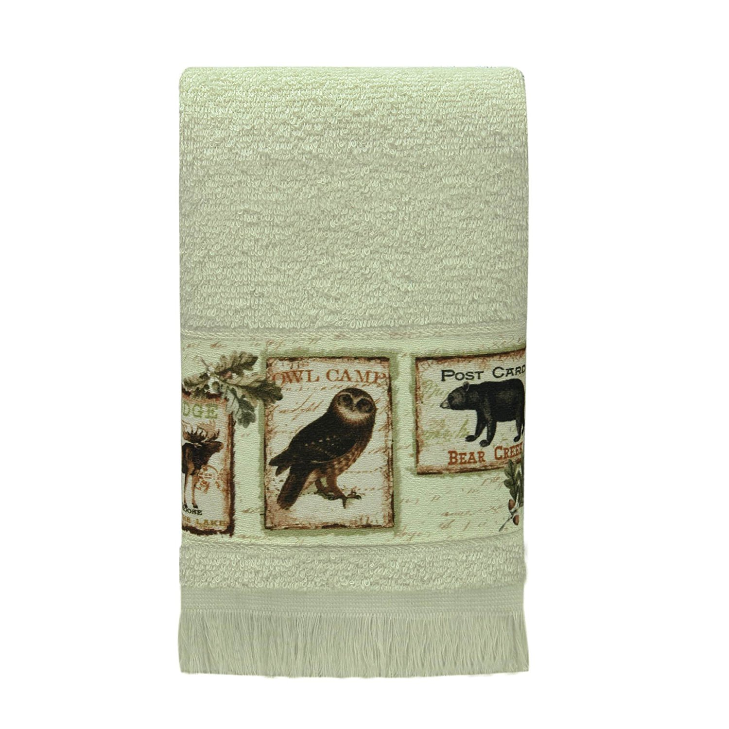 1 Piece Beige Lodge Memories 11 X 18 Inches Fingertip Towel, Ivory Animal Print Nature Novelty Pattern Decorative Heat Transfer Printed Band Soft Cozy Luxurious Comfortable Long-lasting Towel, Cotton