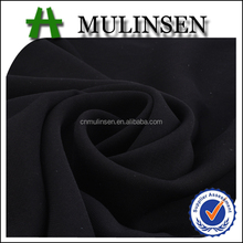 Mulinsen Textile Cheap Muslim Women Veils Hijab Material Woven Polyester Wool Peach Plain Dyed Formal Black Fabric Abaya