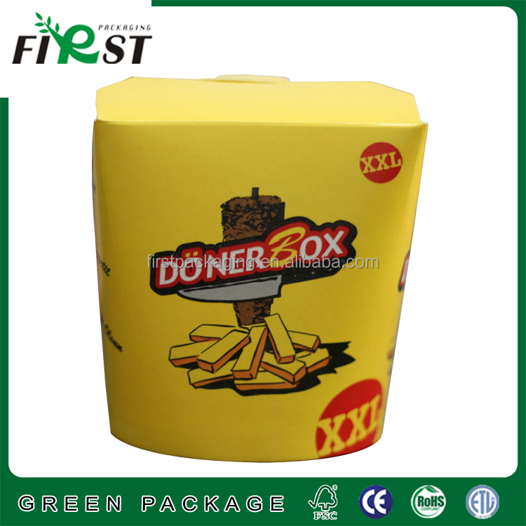 Chips french fries boxes,doner box&snack packaging; recycling paper with CYMK in customied size and logo with good quality